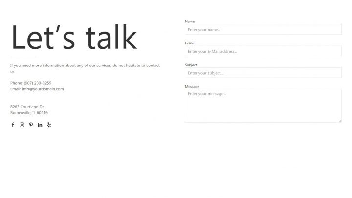 UIkit 3 Two Columns Contact Page