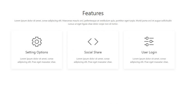 UIkit 3 Three Columns Features Section with Hover Shadow